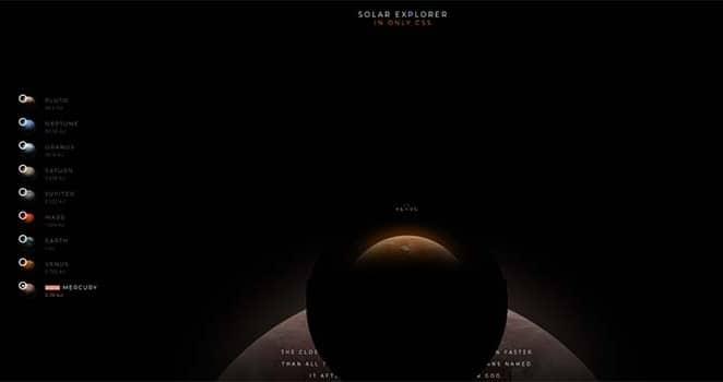 Solar System Explorer in CSS