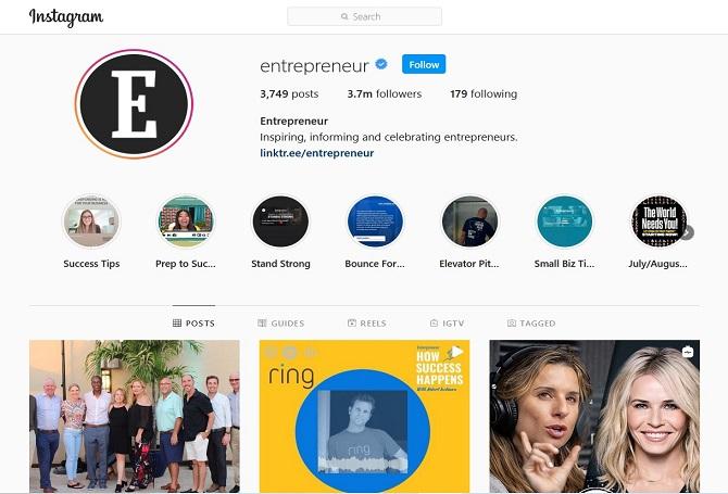 Entrepreneur Instagram account