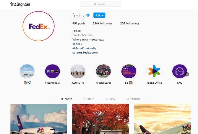 FedEx Instagram account