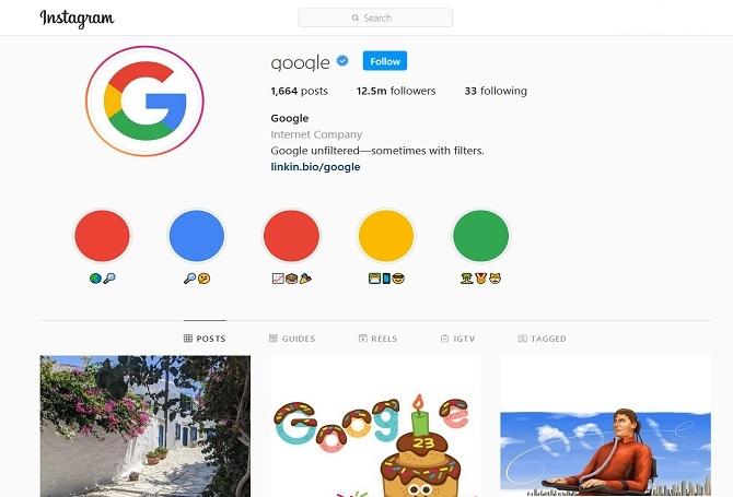 Google Instagram account