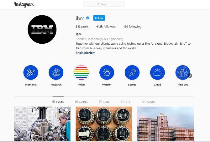 IBM Instagram account