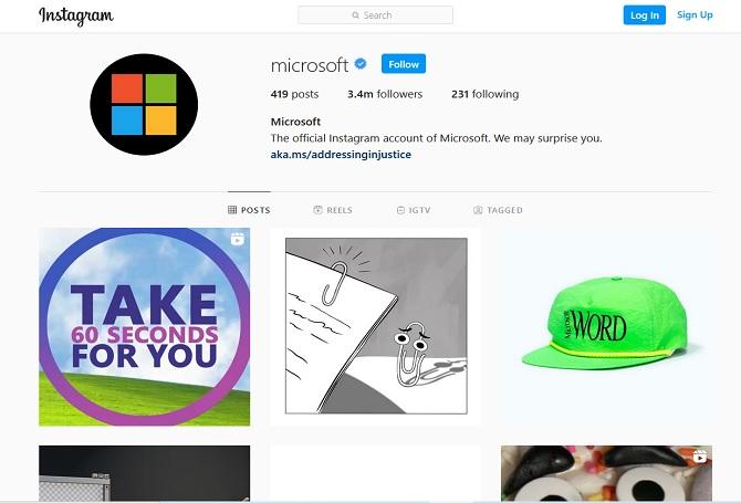 Microsoft Instagram account